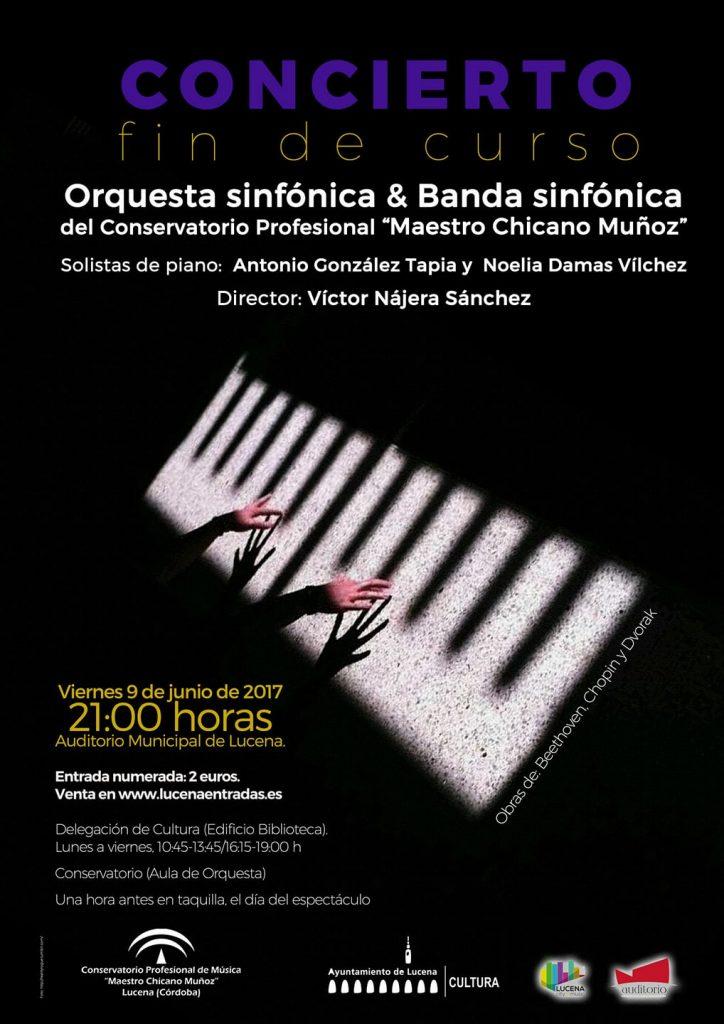"""Concierto de Fin de Curso de la orquesta sinfónica y la banda sinfónica del Conservatorio Profesional de Música """"Maestro Chicano Muñoz"""" @ Auditorio Municipal de Lucena"""