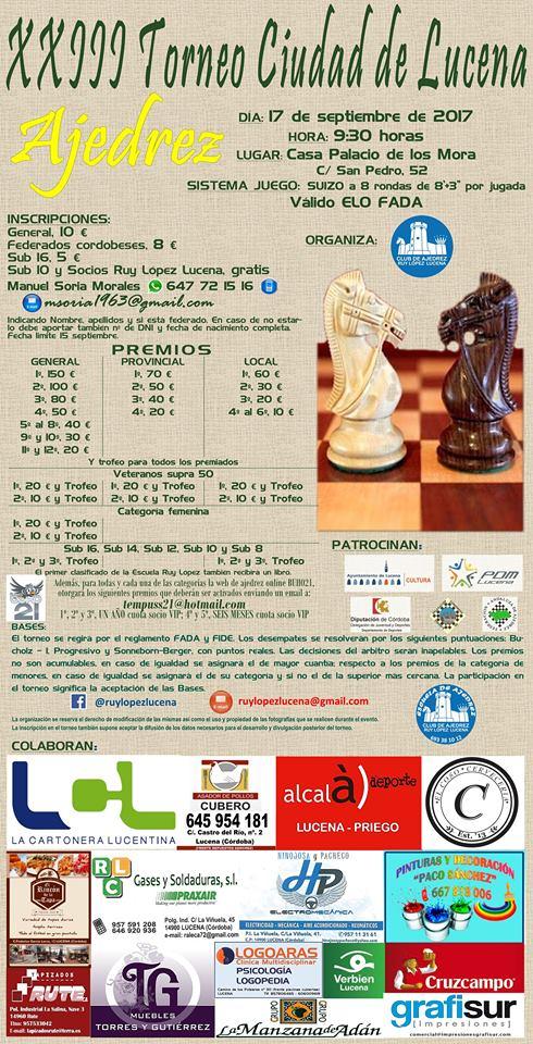"""XXIII Torneo de Ajedrez """"Ciudad de Lucena"""" @ Casa de los Mora"""
