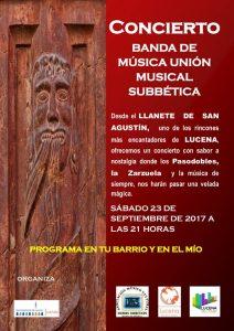 """Concierto homenaje música popular española """"Unión Musical Subbética"""" @ Llanete de San Agustín"""