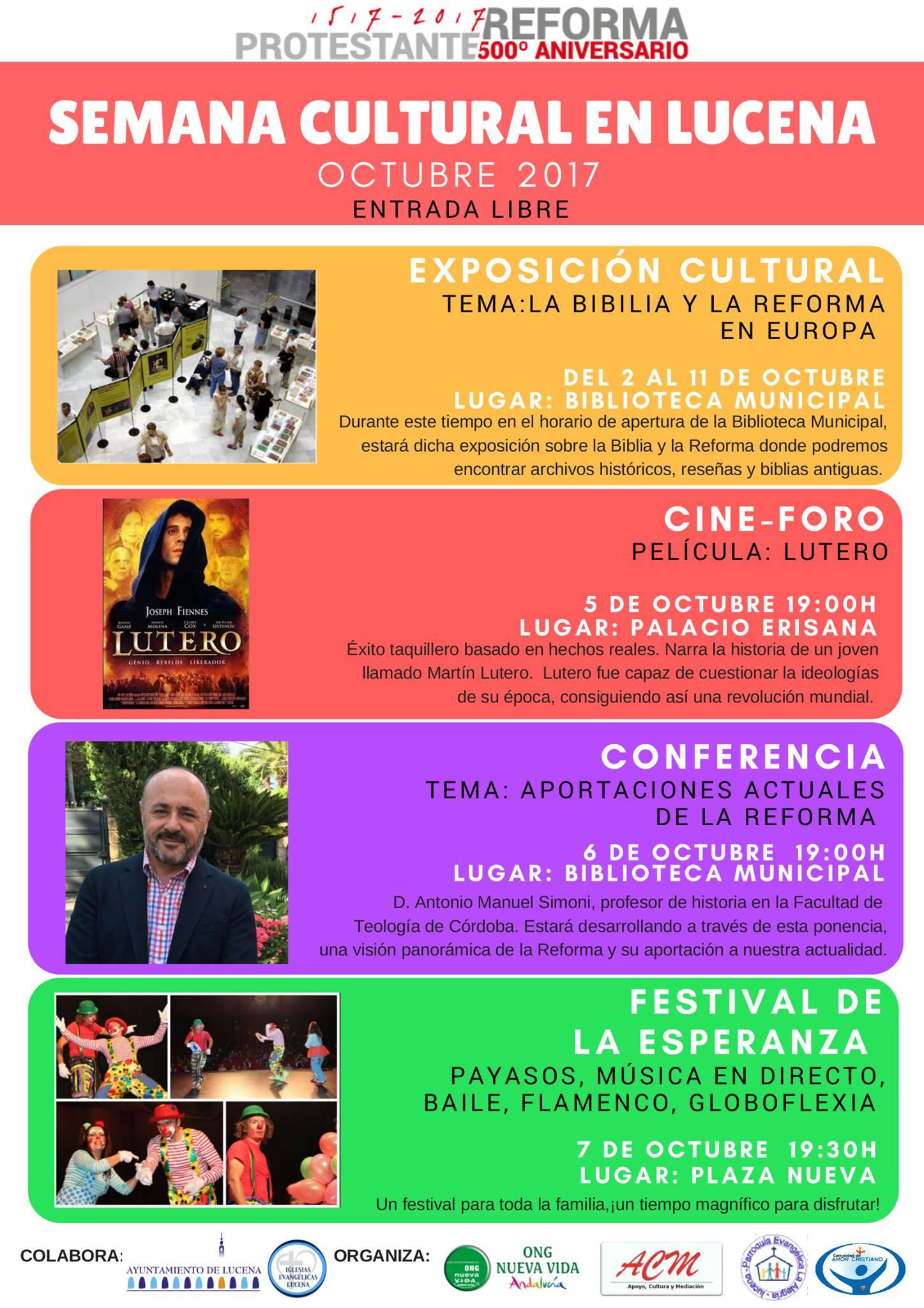 Semana Cultural: 500 aniversario de la Reforma Protestante @ varios espacios