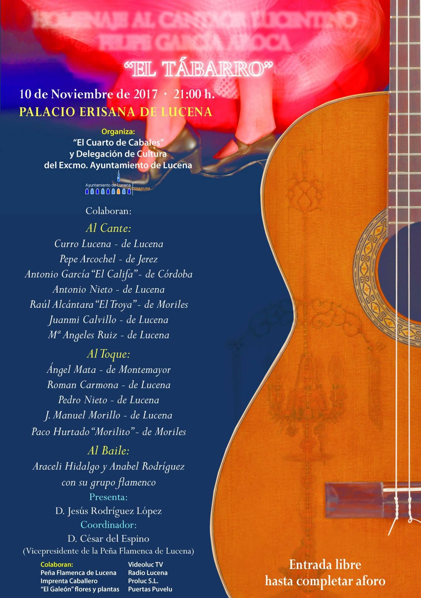 """Homenaje al cantaor Felipe García Aroca """"Tábarro"""" @ Palacio Erisana"""