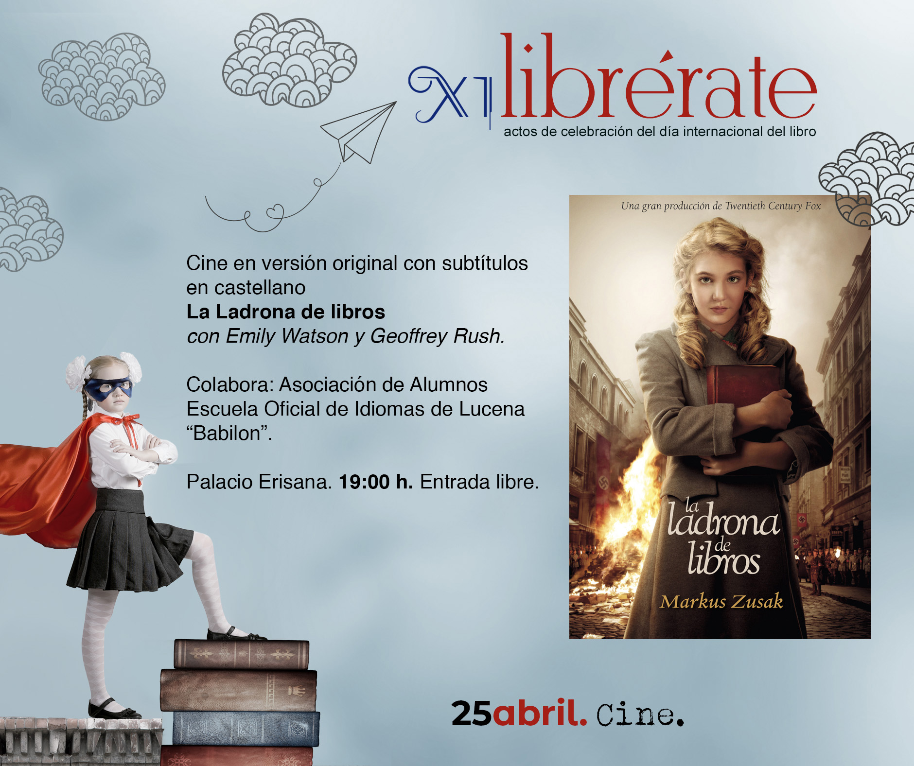Cine en versión original con subtítulos en castellano La Ladrona de libros @ Palacio Erisana