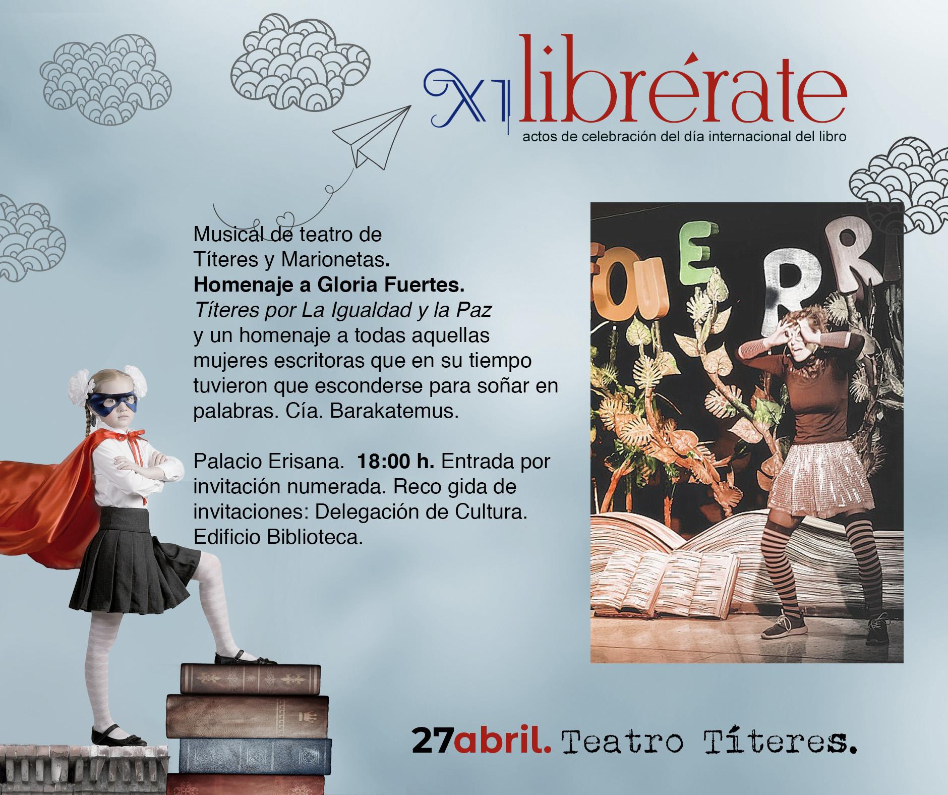 Musical de teatro de  Títeres y Marionetas.  Homenaje a Gloria Fuertes.  Títeres por La Igualdad y la Paz @ Palacio Erisana