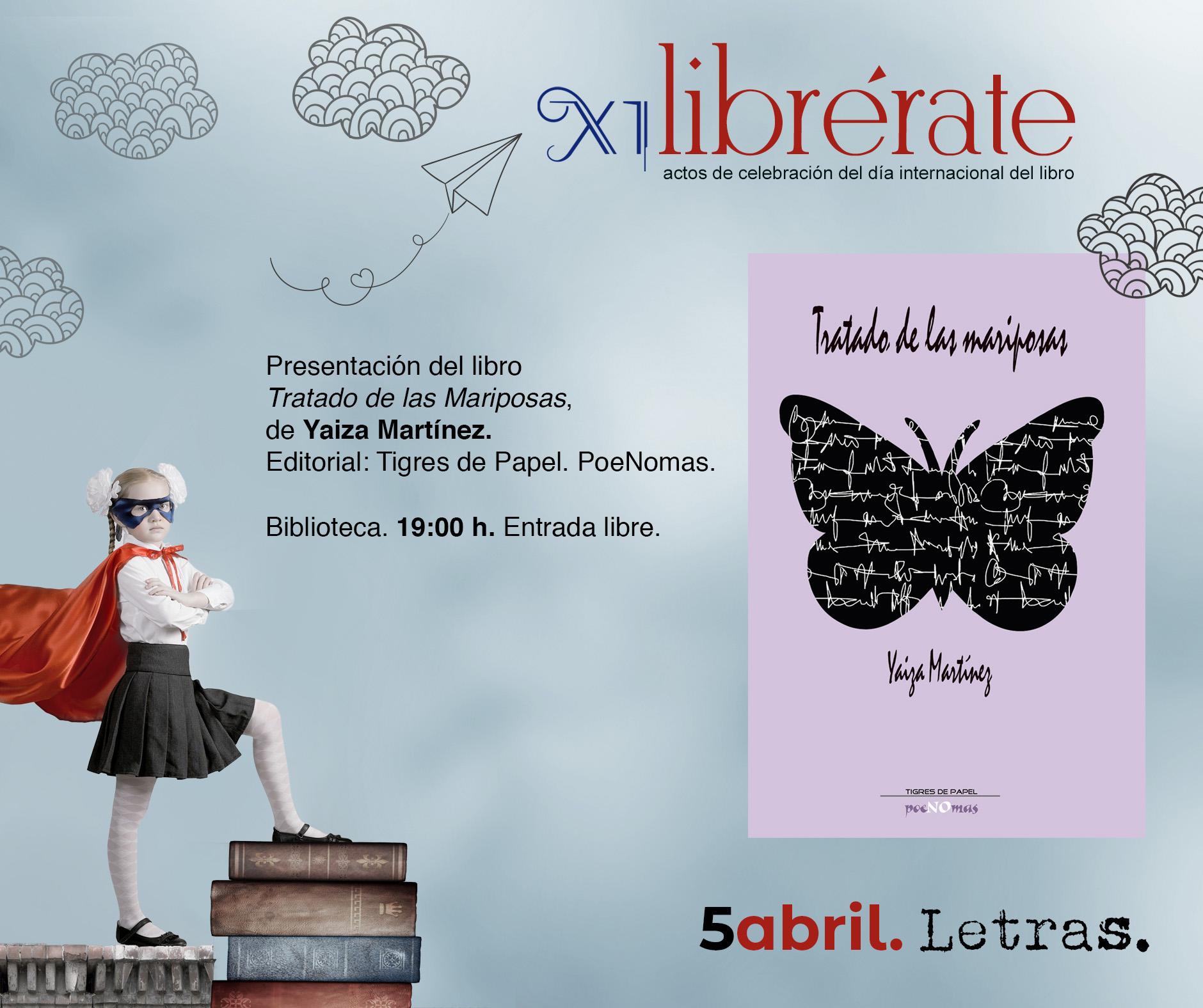 Presentación del libro  Tratado de las Mariposas,  de Yaiza Martínez @ Biblioteca Pública Municipal