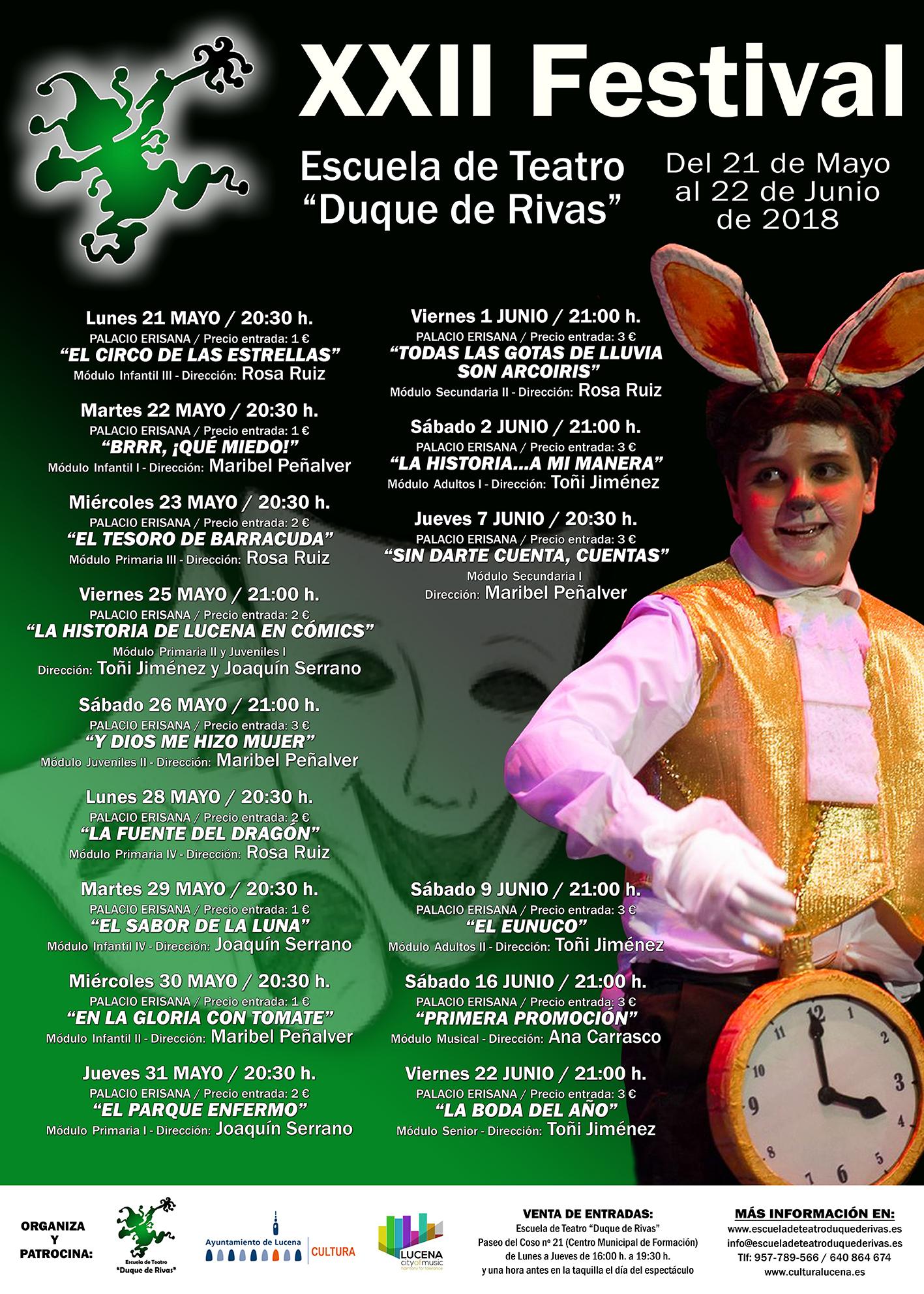 """XXII Festival de la Escuela de Teatro """"Duque de Rivas"""" @ Palacio Erisana"""