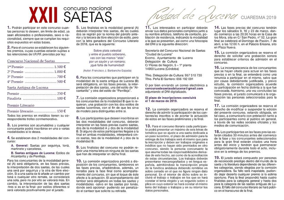 """Inscripción al XXII CONCURSO NACIONAL DE SAETAS """"CIUDAD DE LUCENA"""" @ concursodesaetas@gmail.com"""
