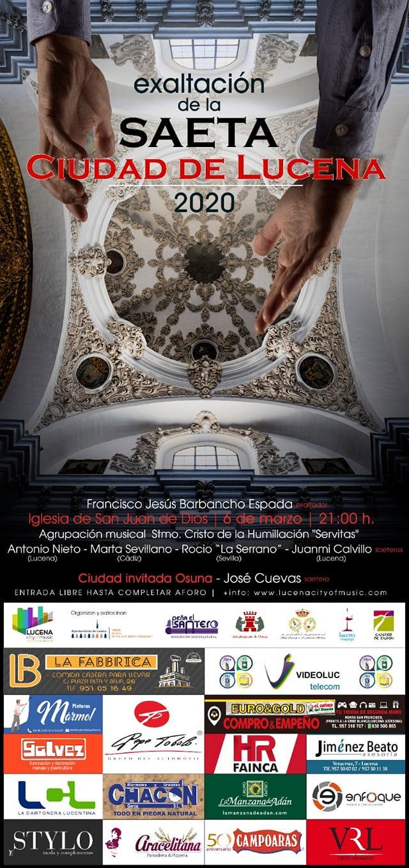 """EXALTACIÓN DE LA SAETA """"CIUDAD DE LUCENA 2020"""" @ Iglesia San Juan de Dios"""